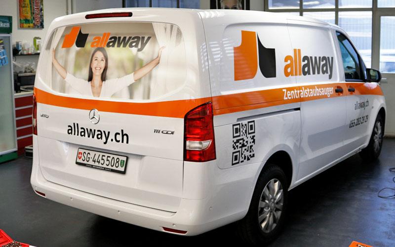 Realisation der Fahrzeugbeschriftung für Allaway durch Egli-Werbung