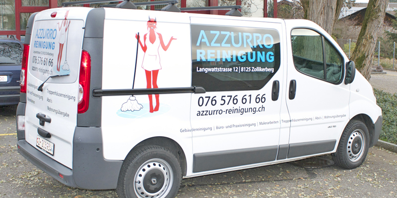 Azzurro Reinigung | Fahrzeugeschriftung | Beschriftung