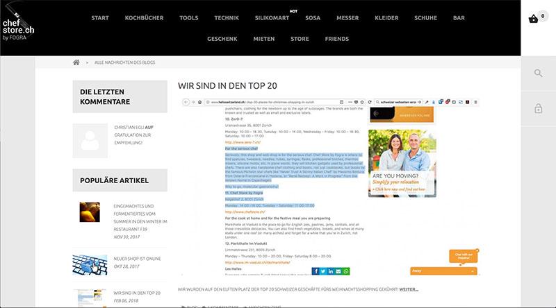 Blog für den Chefstore durch Egli-Werbung