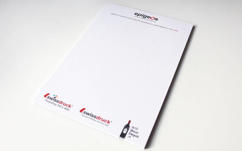 Design des Schreibblock für die Epigeos AG durch Egli-Werbung