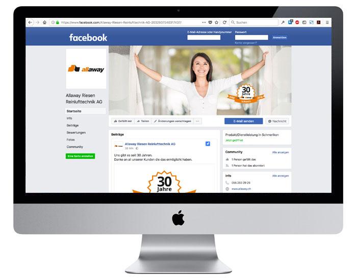 Facebook KMU für Allaway durch Egli-Werbung