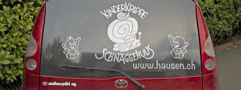 Kinderkrippe Schnäggehuus | Fahrzeugbeschriftung | Beschriftung