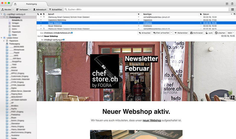 Aufbau des Newsletter-Marketing für chefstore.ch durch Egli-Werbung