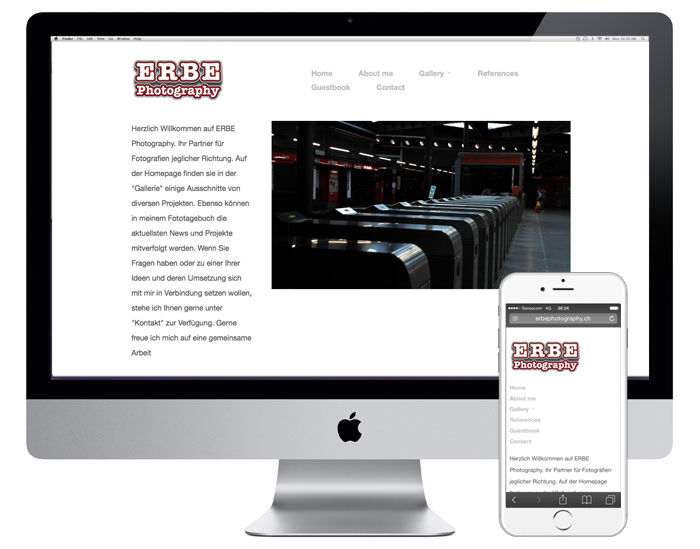 ERBE Photography Webdesign | erbephotography.ch