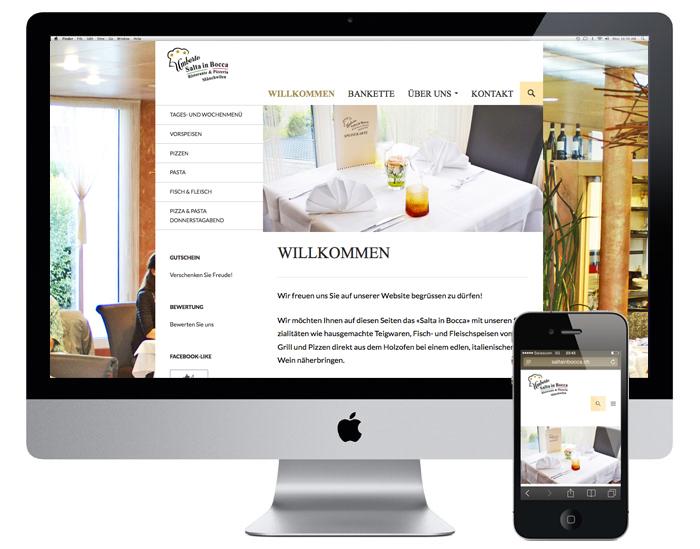 Webdesign für das Restaurant Saltainbocca